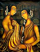 Silk Paintings - Temple Dancers by Raji Chacko