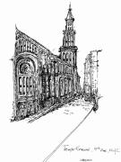 City Streets Drawings Prints - Temple Emanuel Print by Pamela Canzano