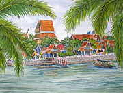 Thailand Paintings - Temple in Ayutthaya Thailand by Bonnie Sue Schwartz