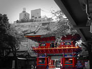 Japan House Framed Prints - Temple in Tokyo Framed Print by Irina  March