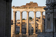 Sites Tapestries Textiles Prints - Temple of Saturn in the Forum Romanum. Rome Print by Bernard Jaubert
