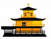 Asbjorn Lonvig Digital Art - Temple of the Golden Pavilion Kyoto Japan by Asbjorn Lonvig