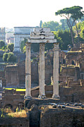 Sites Tapestries Textiles Prints - Temple of Vesta Arch of Titus. Temple of Castor and Pollux. Forum Romanum Print by Bernard Jaubert