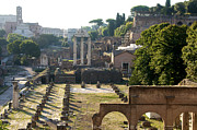 Temples Posters - Temple of Vesta. Arch of Titus. Temple of Castor and Pollux. Forum Romanum. Roman Forum. Rome Poster by Bernard Jaubert