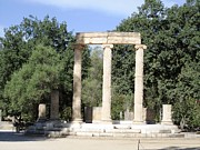 Neo-classical Framed Prints - Temple of Zeus Ancient Ruins in Olympia Greece Framed Print by John A Shiron