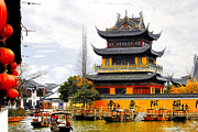 Shanghai China Tapestries Textiles Originals - Temple Pagoda Zhujiajiao - Shanghai China by Christine Till - CT-Graphics