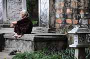 Old Lady Photos - Temple steps by Marion Galt