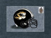 High School Sports Prints - Temple Tigers Football Helmet Print by Herb Strobino