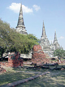 Digital Image Prints - Temples Ayutthaya Thailand Print by Paul Shefferly