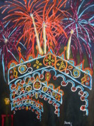 Pyrotechnics Painting Prints - Temporary Towers Print by Stephen Strohschein