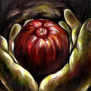 Food  Paintings - Temptation... Adams dilemma by Hiroko Sakai
