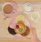 Tea Party Drawings - Temptation by Karen Hull