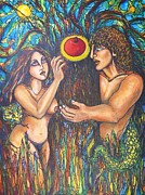 Religious Art Painting Originals - Temptation of Adam and Eve  by Rae Chichilnitsky