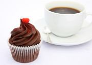 Unhealthy Eating Prints - Tempting Chocolate Cupcake Snack With Coffee Print by Rosemary Calvert