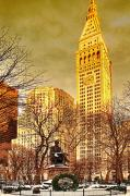 Cities Digital Art Metal Prints - Ten Past Four at Madison Square Park Metal Print by Chris Lord