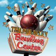 Signage Digital Art Posters - Ten Pin Alley Bowling Poster by Anthony Ross