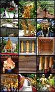 Collages Acrylic Prints - Ten Thousand Buddhas Monastery by Roberto Alamino