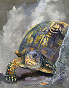 Turtle Mixed Media Metal Prints - Tenacity Metal Print by J W Baker