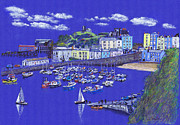 Sailboats Drawings - Tenby Harbour by Lynn Blake-John