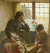 Sewing Paintings - Tender Grace of a Day that is Dead by Walter Langley
