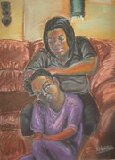 Black Family Pastels Framed Prints - Tender Headed Framed Print by Kevin Harris