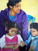 Nicaragua Paintings - Tender Moment of Compassion by Sarah Hornsby