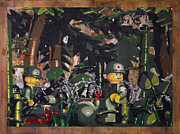 Spraypaint Painting Prints - Tending to the Wounded Vietnam Print by Josh Bernstein