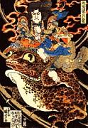 Utagawa Kuniyoshi - Tenjiku Tokubi Riding Giant Toad