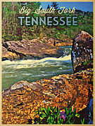 Tennessee River Digital Art Framed Prints - Tennessee Big South Fork Framed Print by Vintage Poster Designs