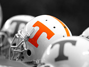 Sports Art Print Prints - Tennessee Football Helmets Print by University of Tennessee Athletics