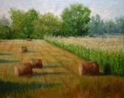 Tennessee Hay Bales Painting Prints - Tennessee Hay and Corn Fields Print by Paula Ann Ford