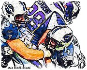 Tennessee Titans Karl Klug And Chris Hope And Minnesota Vikings Adrian Peterson Print by Jack Kurzenknabe