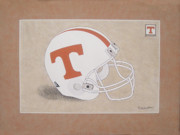 Football Helmets Posters - Tennessee Volunteers Helmet Poster by Herb Strobino