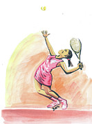 Tennis Player Drawings Prints - Tennis 03 Print by Emmanuel Baliyanga
