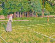 Ball Games Framed Prints - Tennis at Hertingfordbury Framed Print by Spencer Frederick Gore