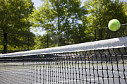 Tennis Court Prints - Tennis Ball Passing Over The Net Print by Snap Decision