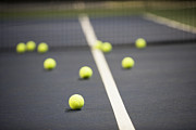 Tennis Court Framed Prints - Tennis Balls on a Tennis Court Framed Print by Ben Sandall