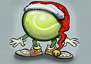 Fun Posters - Tennis Christmas Poster by Kevin Middleton