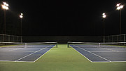 Tennis Court Prints - Tennis Court at Night Print by Ben Sandall