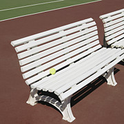 Out Of Bounds Acrylic Prints - Tennis Court Benches Acrylic Print by Skip Nall