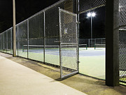 Chain Link Framed Prints - Tennis Court Entrance at Night Framed Print by Ben Sandall