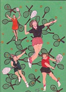 Racquets Posters - Tennis Girls On Racquets Poster by Olga Roos