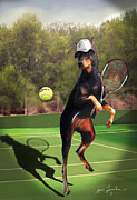 Tennis Painting Posters - Tennis playing Doberman Poster by Gina Femrite