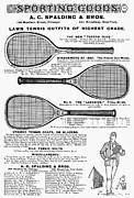Sporting Equipment Framed Prints - Tennis Rackets, 1887 Framed Print by Granger