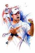 Roger Federer Paintings - Tennis snapshot by Ken Meyer jr
