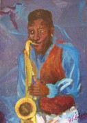 Saxophon Posters - Tenor Player Poster by Jamey Balester