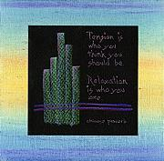 Motivational Painting Originals - Tension is...in blue and green by Audi Swope