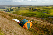 Castleton Prints - Tent Sited Near Summit of Mam Tor Print by Rod Johnson