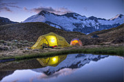 Mountain Photos - Tents Lit By Flashlight On Cascade by Colin Monteath
