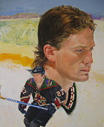 Hockey Player Painting Originals - Teppo Numminen by Cliff Spohn